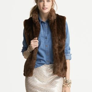 Banana Republic faux fur vest in brown S